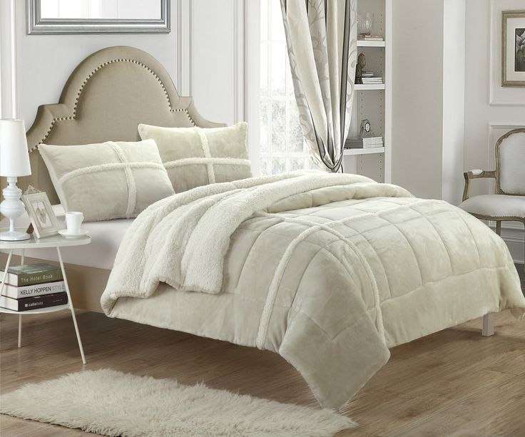 set piece kaiser mink product ultra home beige sherpa plush comforter bedding chic bath micro