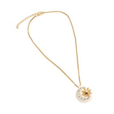 ¡Este elegante collar es perfecto para jóvenes aspirantes a superestrellas! Es idéntico al que lleva la protagonista de la serie, con una luna plateada y un sol dorado con detalles de diamantes de estrás.