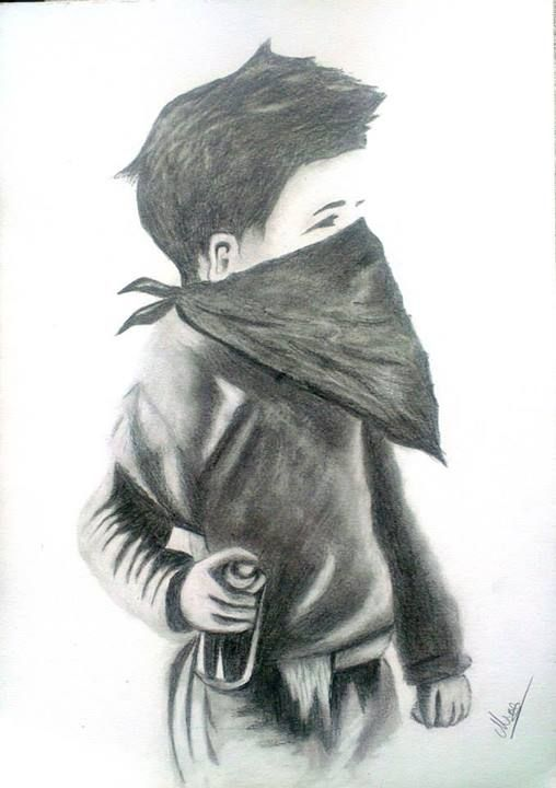 Pencil Drawing   Punk Kid with spray