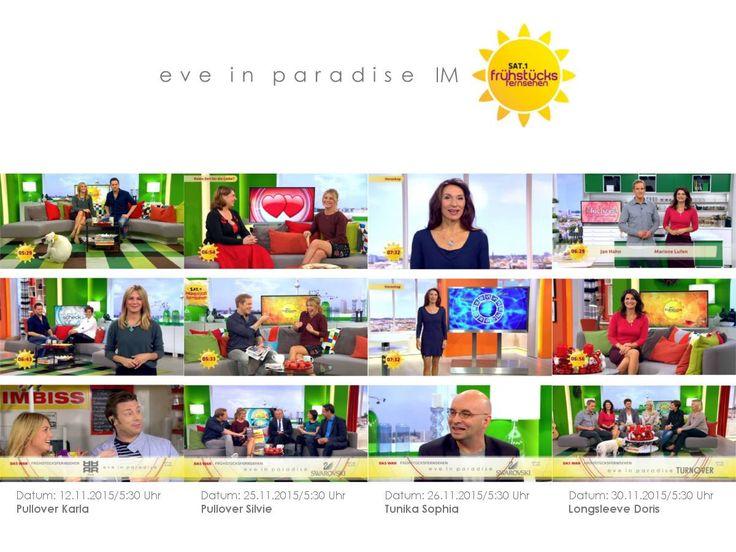 Karla, Silvie, Sophia und Doris im #Sat1 #Frühstücksfernsehen. Mehr dazu erfahrt ihr in unserem Blog: https://www.eve-in-paradise-shop.de/blog/ #pullover #tunika #longsleeve #moderatoren #eveinparadise