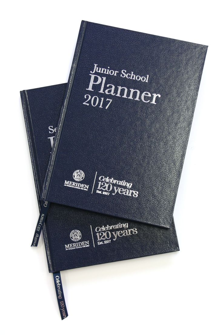 Meriden 2017 Student Planner – layout and print production – silver foiled ribbon and case