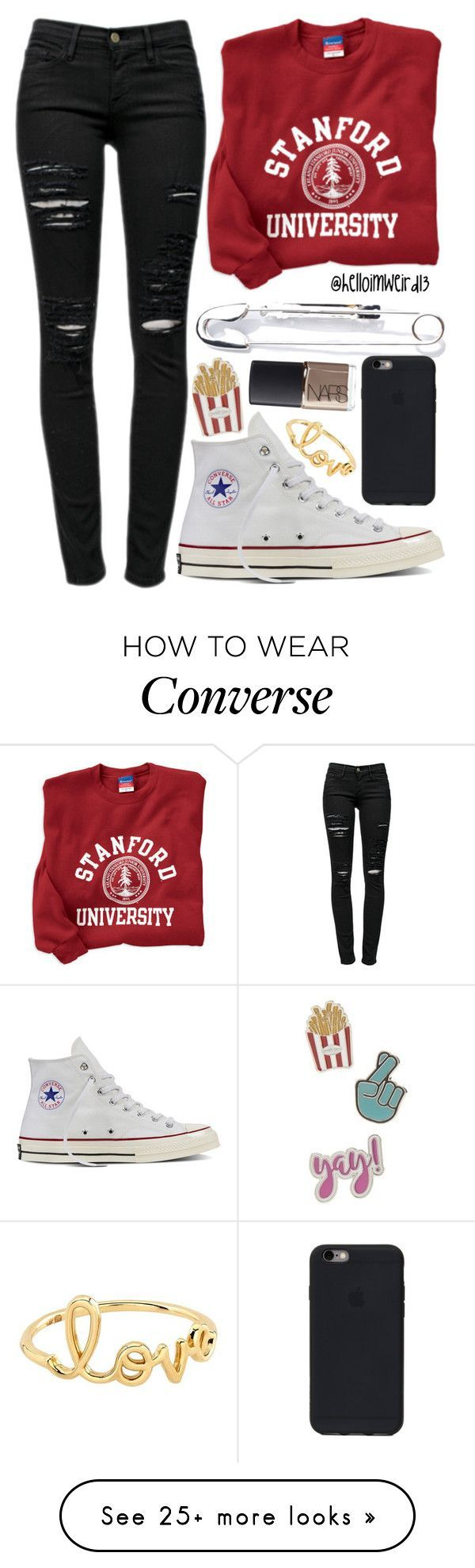 """shine bright"" by helloimweird13 on Polyvore featuring Frame, Cheap Monday, Converse, Red Camel, NARS Cosmetics and Sydney Evan"