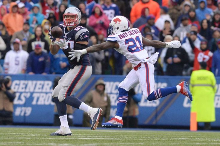 Patriots vs. Bills:  October 30, 2016  -  41-25, Patriots  -    New England Patriots tight end Rob Gronkowski (87) catches a pass in front of Buffalo Bills' Nickell Robey-Coleman (21) during the first half of an NFL football game Sunday, Oct. 30, 2016, in Orchard Park, N.Y. Gronkowski scored a touchdown on the play.