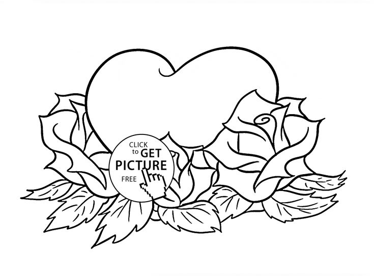 beautiful roses and heart coloring page for kids flower coloring pages printables free wuppsy - Coloring Pages Hearts Roses