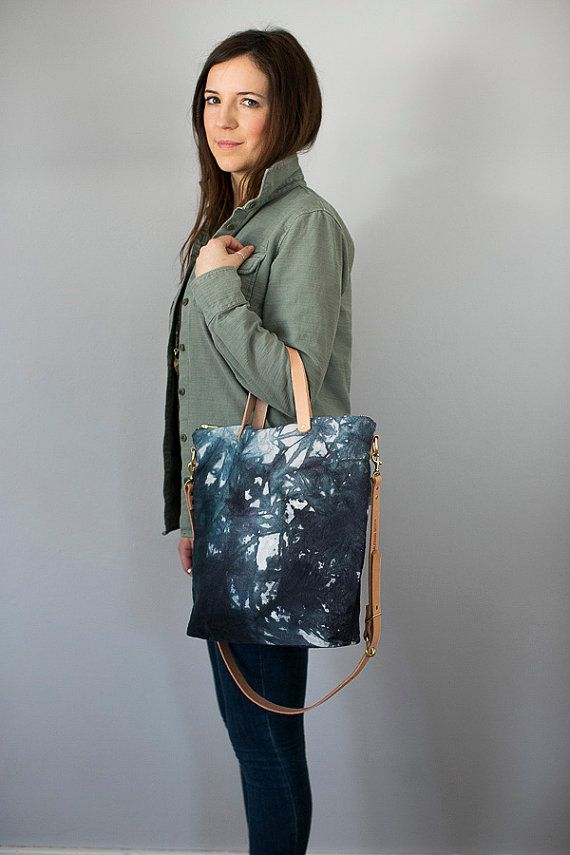Crossbody Zip Tote  Hand Dyed Canvas by MilkhausDesign on Etsy