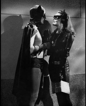 """Adam West as Batman, Julie Newmar as Catwoman  """"Batman"""" (1966-68)"""
