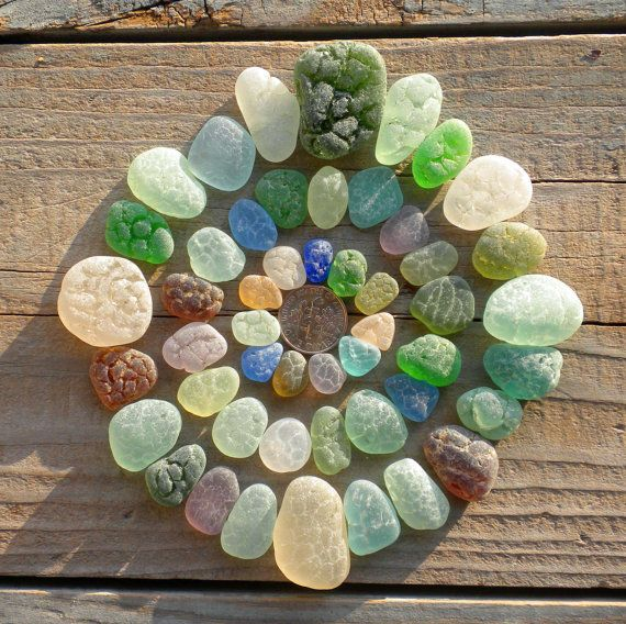 Genuine Beach Sea Glass - Rare Crackle Sea Glass