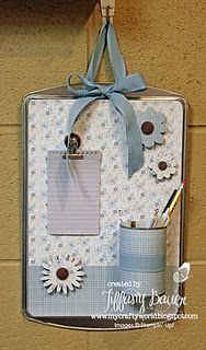 Message board made with a cookie sheet--- so smart for when your cookie sheets get old!
