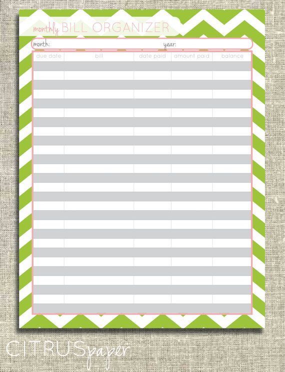 Bill Organizer. create a printable monthly bill organizer awesome 6 ...