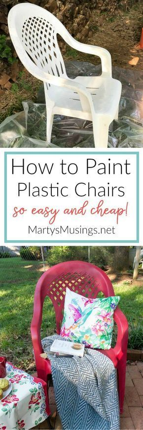 Don't throw away that UGLY outdoor furniture! This easy DIY that ANYONE can do shows how to spray paint plastic chairs without spending a lot of money or time! #PlasticChair