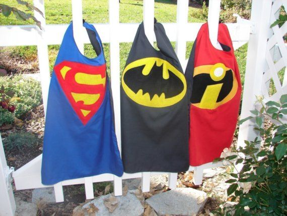 reversible super hero capes for little boys. maybe mr. incredible on one side and captain CTR on the other