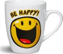 NICI Smiley World Porcelanowy kubek Smiley BE HAPPY! kolorźółty Porcelanowy kubek - zdjęcie 1