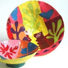 Matisse Bowl paper mache collage could use a couple of artists for kids to choose from Kandinsky klimt picasso