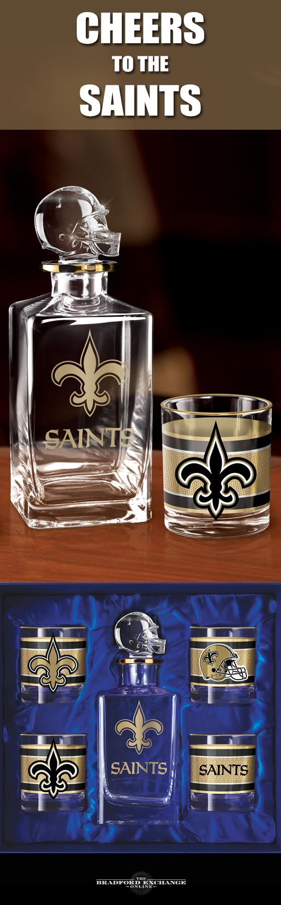 Raise a toast to your New Orleans Saints with a handsome 5-piece decanter set. This officially-licensed NFL barware set includes a crystal-clear decanter with a team helmet stopper, 4 team icon glasses rimmed in gleaming 12K gold and a satin-lined gift box