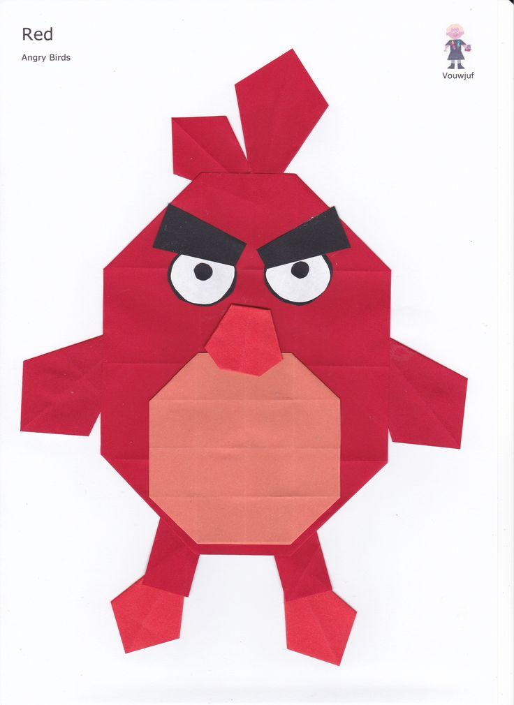 Red - Angry Birds - 16 vierkantjes en vlieger www.vouwjuf.nl Ontwerp Janet de Vink