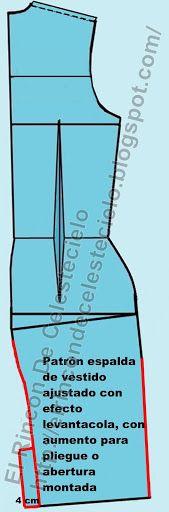 Dando aumento al centro de la espalda en el largo de la falda ajustada con efecto levantacola