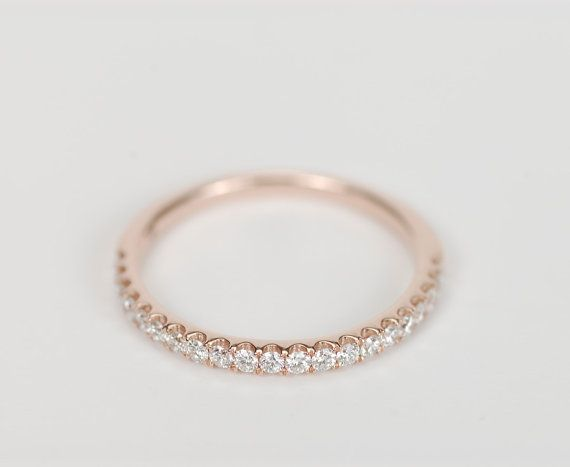 $450 1.5 mm Diamond Wedding Band 14K Rose, White or Yellow Gold - SALE