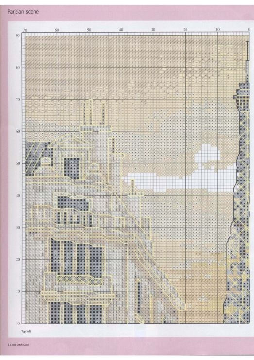 Europe city Paris France downtown, full free cross stitch pattern with DMC labeling - Page1