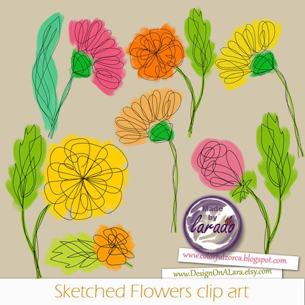 Sketched Flowers cliparts, spring flowers cliparts, Floral Clipart, Doodle Flowers Clipart, Hand Drawn Flower and Leaf Doodles, Botanical by DesignOnALara on Etsy