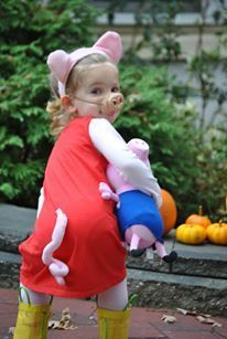 Peppa Pig Halloween Costume, super easy. Adult T with sleeves cut off, pink leotard and tights underneath. Attached store bought tail.