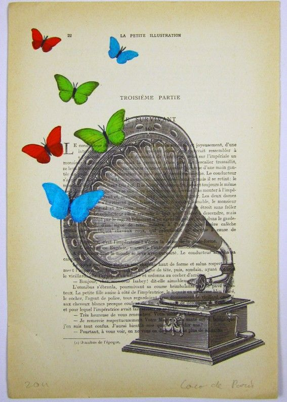 Butterfly music - ORIGINAL ARTWORK Hand Painted Mixed Media on 1920 famous Parisien Magazine 'La Petit Illustration'