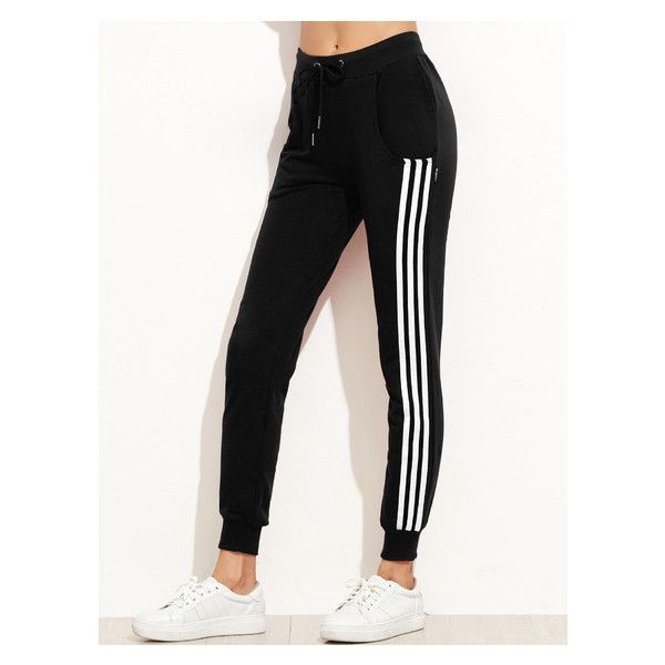 Black Side Stripe Drawstring Tapered Leg Pants (51 BRL) ❤ liked on Polyvore featuring pants, peg-leg pants, peg leg pants, peg-leg trousers, drawstring trousers and drawcord pants
