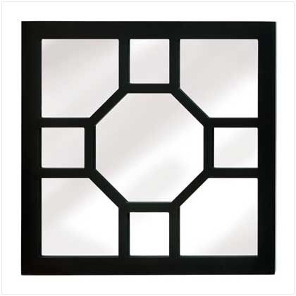 """UPC: #14632 Urban sophistication shines in this stunning wall decoration! A perfect finishing touch to your eclectic decorating scheme, with geometric wood frame overlay and mirrored backdrop.     Weight 4.6 lbs. MDF wood frame and mirror. 16"""" x 1"""" x 16"""" high. $49.95 (plus tax/shipping). - to place an order for this product, contact us at asimpletouchgallery@gmail.com"""