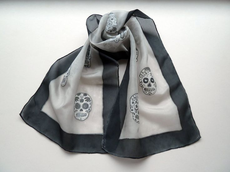 Sugar Scull Silk Scarf by SofiaHartLondon on Etsy