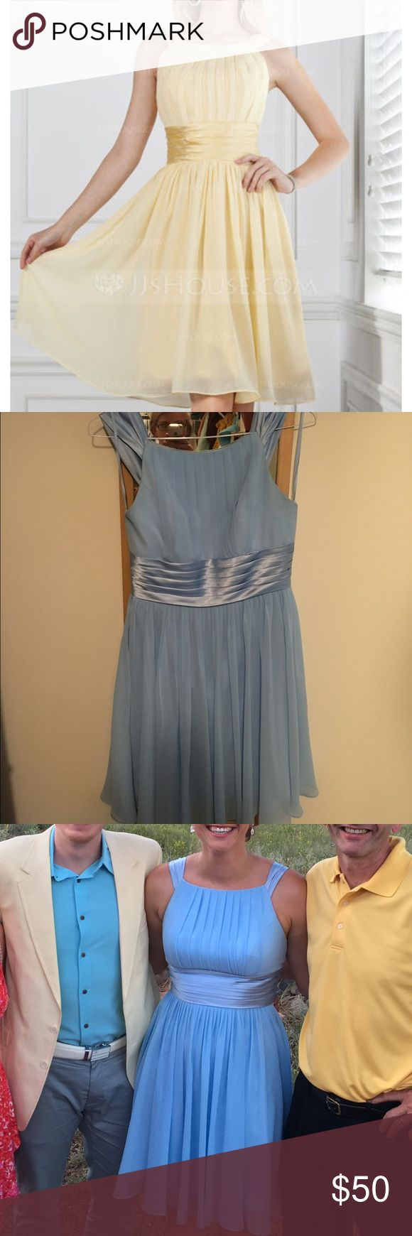 JJs House Chiffon Bridesmaid Dress A-Line/Princess Scoop Neck Knee-Length Chiffon Bridesmaid Dress With Ruffle. Only worn once. Really comfortable! Size 12. Color is Sky Blue. http://m.jjshouse.com/A-line-Princess-Scoop-Neck-Knee-length-Chiffon-Bridesmaid-Dress-With-Ruffle-007004142-g4142 JJs House Dresses Wedding