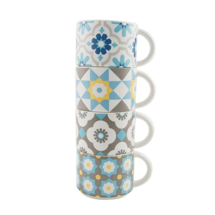 Set of 4 Mediterranean Mosaic Stacking Mugs