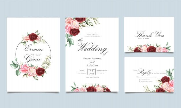 Download Floral Wedding Invitation Card Vectors Set For Free