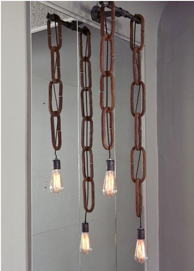 // chain pendants: Hanging Lights, Idea, Bathroom Sconces, Lights Fixtures, Lighting, Bathroom Vanities, Industrial Chic, Chains Lights, Pendants Lights
