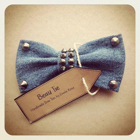 Womens studded denim bow tie by Beau Tie £23.00