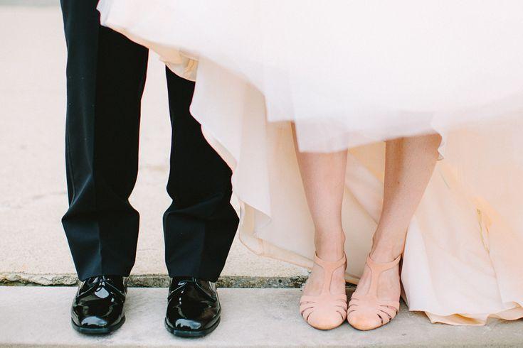 Bride's Shoes: Seychelles - http://www.stylemepretty.com/portfolio/seychelles Photography: Jenny Haas Photography - http://www.stylemepretty.com/portfolio/jenny-haas-photography   Read More on SMP: http://www.stylemepretty.com/2014/11/26/glamorous-diy-wedding-at-the-dayton-ohio-art-institute/