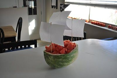 pretty sure this is all my skills can handle when it comes to making a pirate ship out of a watermelon!