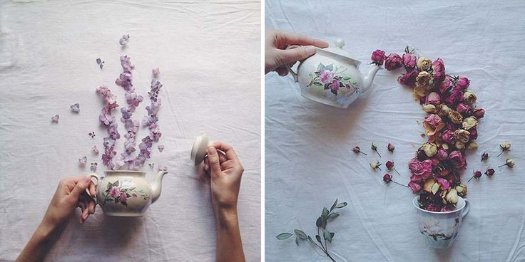 Художница из России Марина Малина создает очаровательные иллюзорные композиции, в которых чашки переполнены флорой. Для этого она совмещает столешницу, засушенные цветы и травы с приборами для чаеп…
