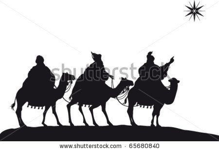 Three Wise Men of the Nativity on camels - stock vector