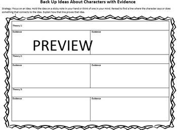 Use the graphic organizer to teach students character traits and text evidence.