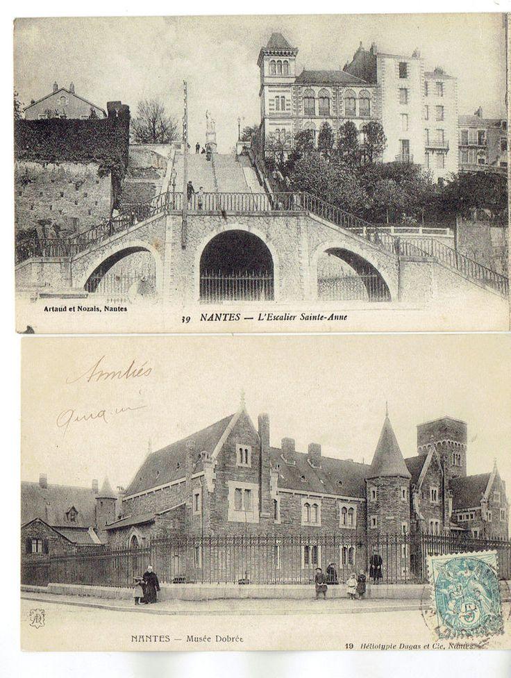 Lot de 2 CPA de Nantes 1900 , dépt 44 , StAnne et Musée