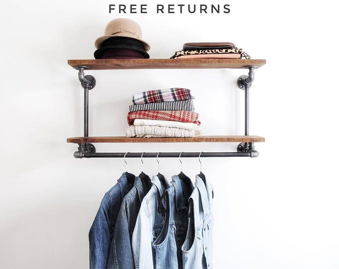 Industrial pipe clothing rack with double shelf ⋆ Industrial hanger ⋆ retail display rack ⋆ pipe rack ⋆ commercial display⋆double shelf