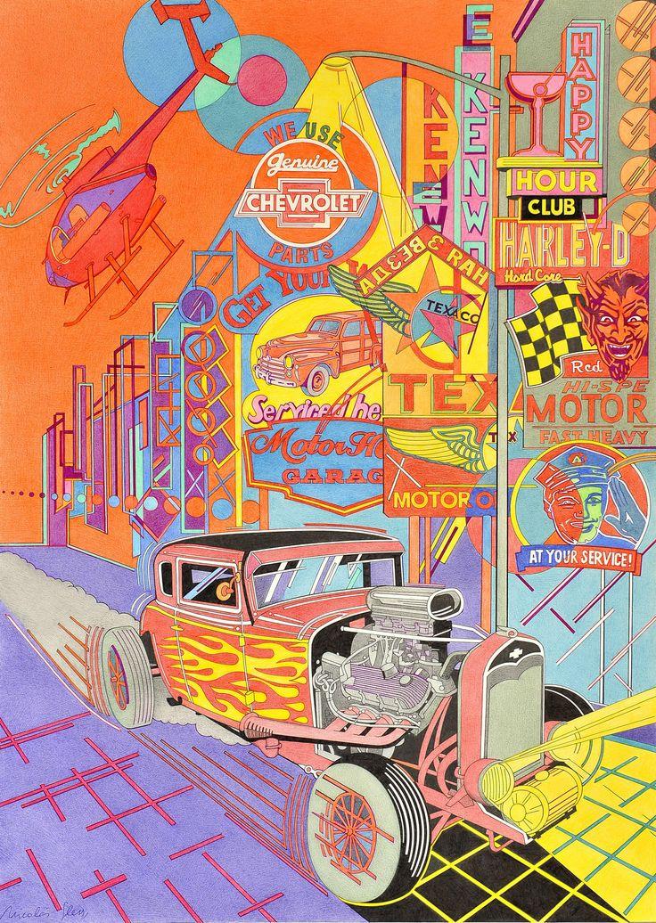 """""""Calle de neón y hot-rod"""". A partir de mis clásicas vistas de ciudades realizadas desde 1974, incorporo los hot-rod, que la juventud de la época transformó para sus carreras urbanas."""