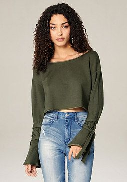 bebe Tie Sleeve Crop Sweatshirt