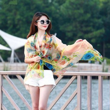 Women Summer Chiffon Beach Shawl Scarves Printing Thin Sunscreen Beach Shawls