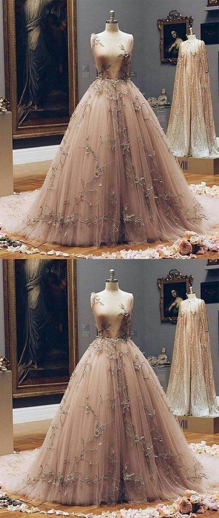 Champagne Deep V Neck Tulle Lace Appliques Fairy Prom Dresses ... c197b637ea29