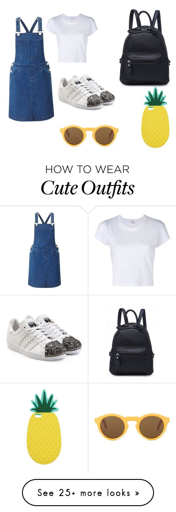 """""""Cute summer shopping outfit"""" by rosiealiceneal on Polyvore featuring Miss Selfridge, RE/DONE, adidas Originals and CÉLINE"""