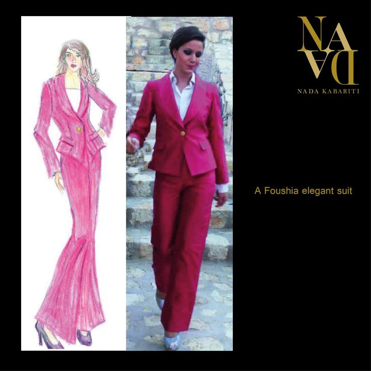 Formal fuchsia suit designed by Nada Kabariti.  For orders contact:  Jordan: 00962795086955 KSA & Bahrain: 00966597798178 Facebook: www.facebook.com/nadadesgin