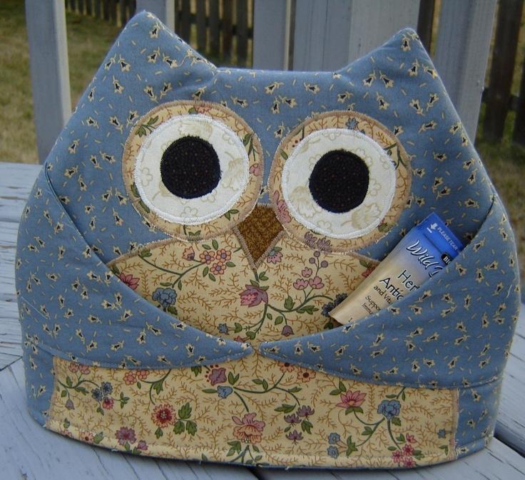 Tea Pot Cozy Owl Patchwork Blue Country Tea Cozy