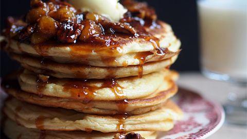 American pancakes with sticky caramel banana sauce