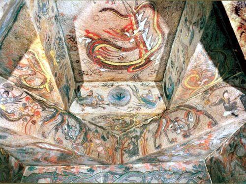 This is one of the many tomb murals that remains of Goguryeo. This painting is of a sun crow with flying celestials. All the colors and details in their art shows how their culture appreciated art very much.