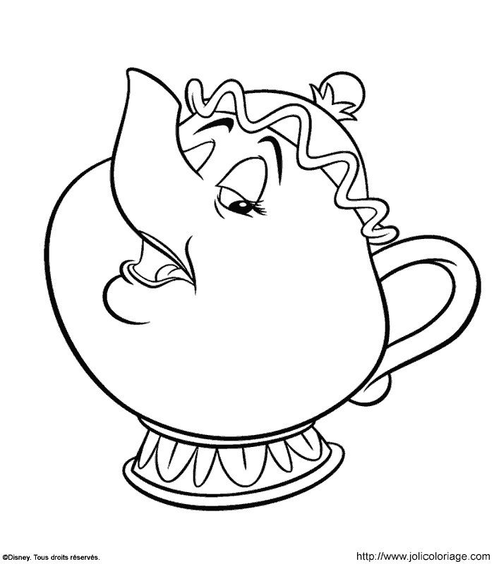 Potts Beauty And The Beast Color Page Disney Coloring Pages Plate Sheetprintable Picture